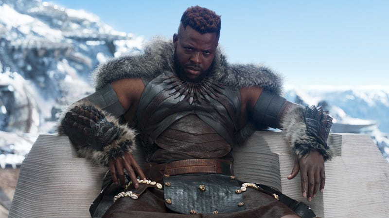 Winston Duke as M'Baku, leader of the Jabari Tribe in Black Panther.
