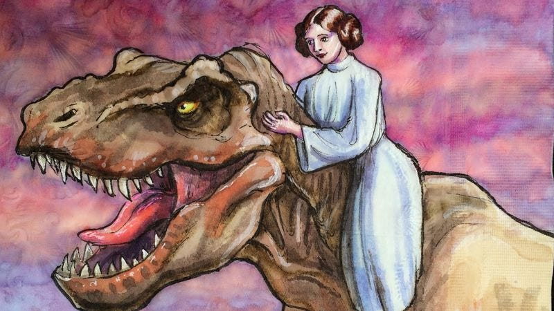 """Princess Leia Rides A T-Rex"" from Nina Levy's Daily Napkins"