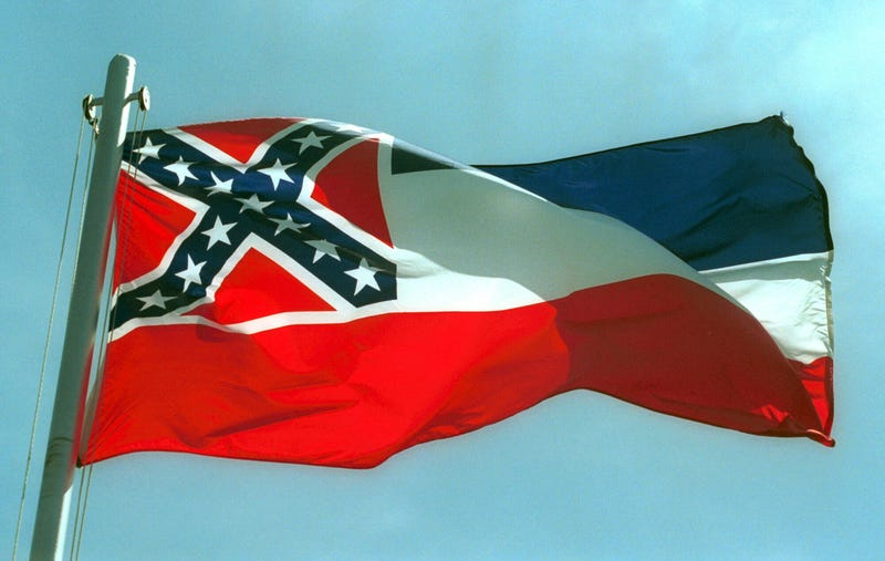 The Mississippi State flags flies April 17, 2001, in Pascagoula, Miss.Bill Colgin/Getty Images