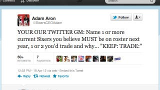 """Illustration for article titled 76ers CEO Invites Fans To Be """"Our Twitter GM,"""" Uses Poor Grammar"""