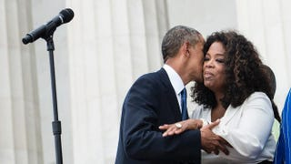 President Barack Obama kisses Oprah Winfrey at the Lincoln Memorial in August during the 50th anniversary of the March on Washington.BRENDAN SMIALOWSKI/AFP/Getty Images