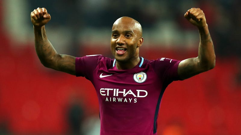 Fabian Delph celebrates after Manchester City's win.