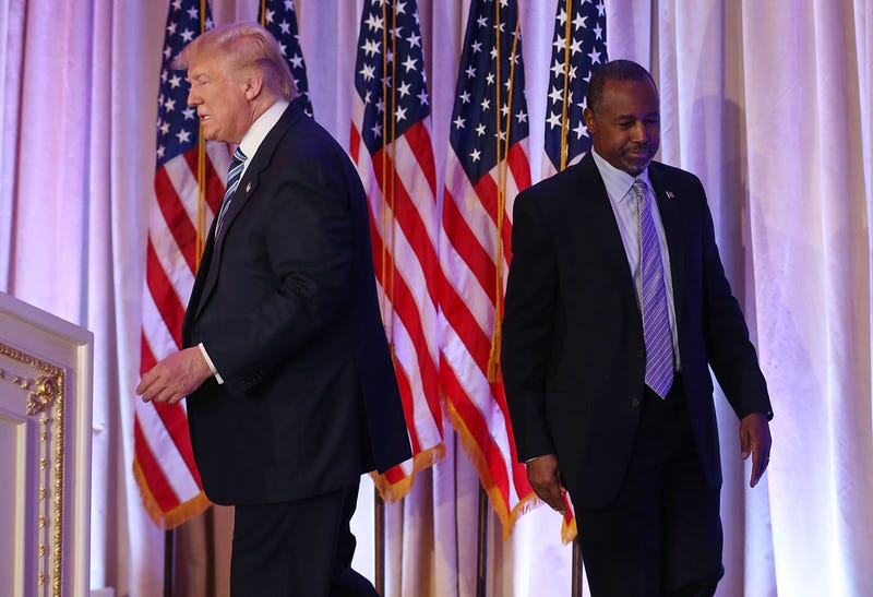 Then-Republican presidential candidate Donald Trump and former presidential candidate Ben Carson are seen as Trump receives Carson's endorsement during a press conference March 11, 2016, in Palm Beach, Fla. Joe Raedle/Getty Images