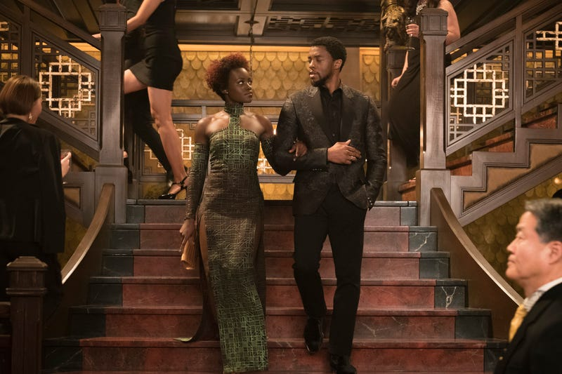 Lupita Nyong'o as Nakia and Chadwick Boseman as T'Challa in Black Panther