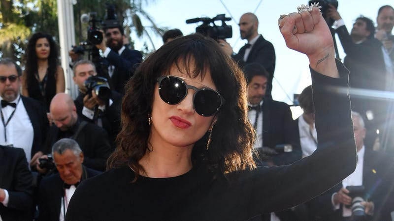 Argento arrives at Cannes closing night ceremonies yesterday in France.