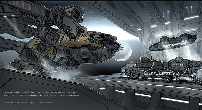 Illustration for article titled Breathtaking Concept Art of Elysium's Spaceship Hangar and Robot Deck
