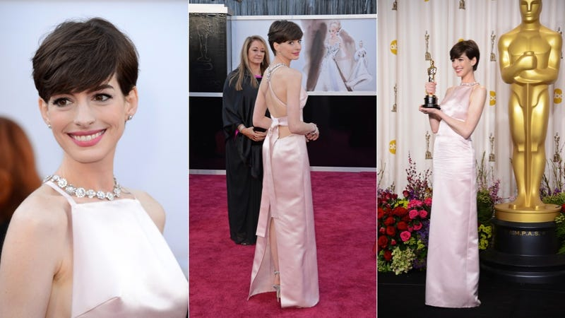 Illustration for article titled Anne Hathaway Changed Her Oscars Dress From Valentino to Prada at the Last Minute