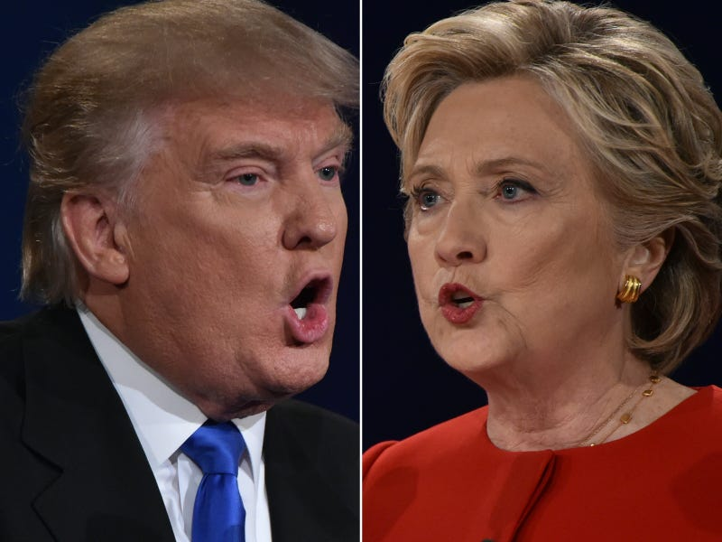 Republican nominee Donald Trump and Democratic nominee Hillary Clinton face off during the first presidential debate at Hofstra University in Hempstead, N.Y., on Sept. 26, 2016.PAUL J. RICHARDS/AFP/Getty Images