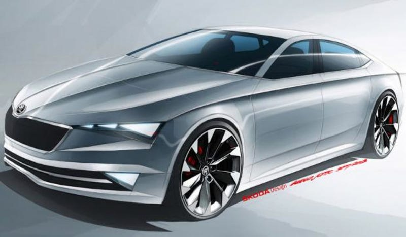 Illustration for article titled The Skoda Vision C Should Be A Great Four-Door Coupe We Won't Get