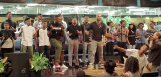 Common with the youth choir in Compton, Calif.Video screenshot
