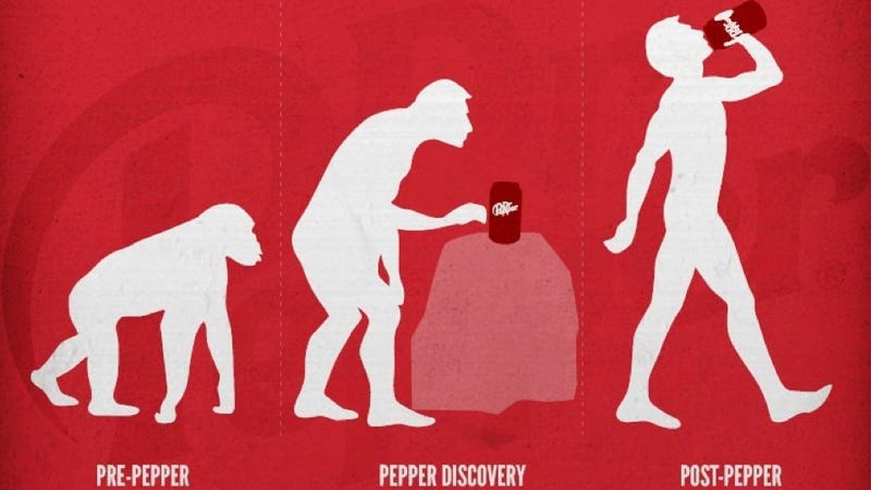 Illustration for article titled Dr Pepper releases evolution advertisement, the Internet loses its shit and America is fat
