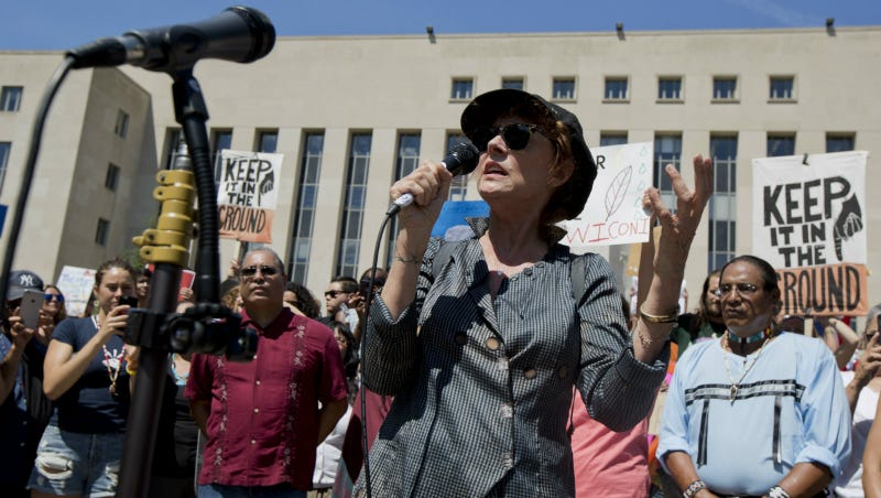 Sarandon speaks during a rally outside US District Court in Washington, Wednesday, Aug. 24, 2016, in solidarity with the Standing Rock Sioux Tribe in their lawsuit against the Army Corps of Engineers to protect their water and land from the Dakota Access Pipeline. Photo via AP