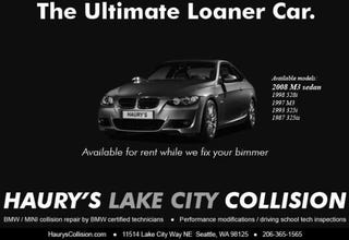 Illustration for article titled Seattle Body Shop Has Best Loaner Car Ever