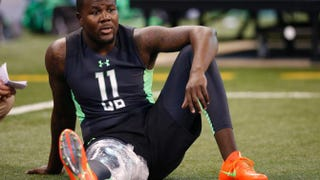 Cardale Jones, then the quarterback for Ohio State, sits out with an injury during the 2016 NFL Scouting Combine on Feb. 27, 2016, in Indianapolis.Joe Robbins/Getty Images