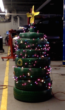 Illustration for article titled 🎄 made of tires, via my Auto class.