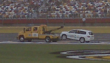 Illustration for article titled Toyota Hybrid Breaks Down, Towed Off Track Before NASCAR Event