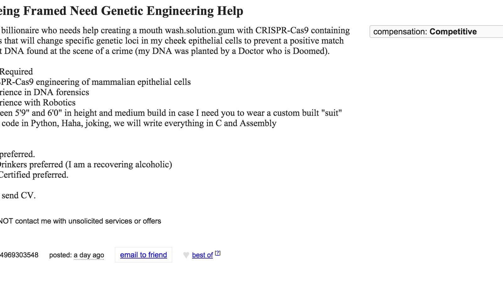 Ziemlich Craigslist Lebenslauf Virus Ideen - Beispielzusammenfassung ...