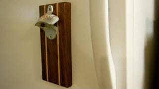 this diy bottle opener catches bottle caps sticks to the fridge. Black Bedroom Furniture Sets. Home Design Ideas