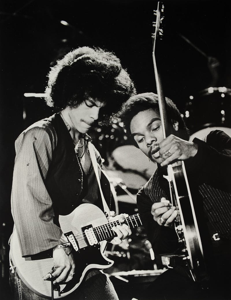 Prince is shown in concert with guitarist Dez Dickerson on Jan. 5, 1979, during his first public concert at the Capri Theater in Minneapolis.Gene Sweeney Jr./Getty Images