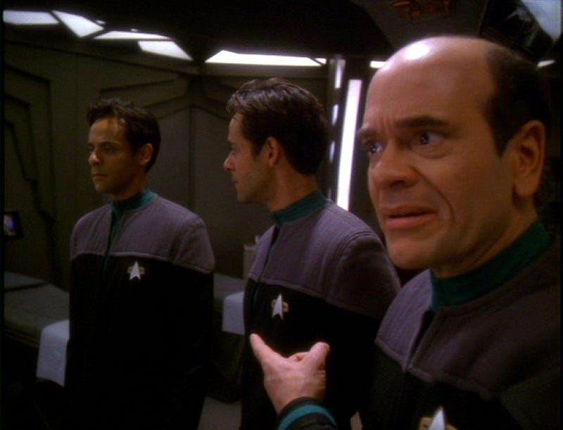 Rovert Picardo as Lewis Zimmerman, with Dr. Bashir and Bashir hologramplayed by Alexander Siddig.