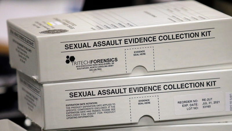 This Feb. 8, 2017, photo, sexual assault evidence collection kit are shown during committee meeting at the Utah State Capitol, in Salt Lake City.