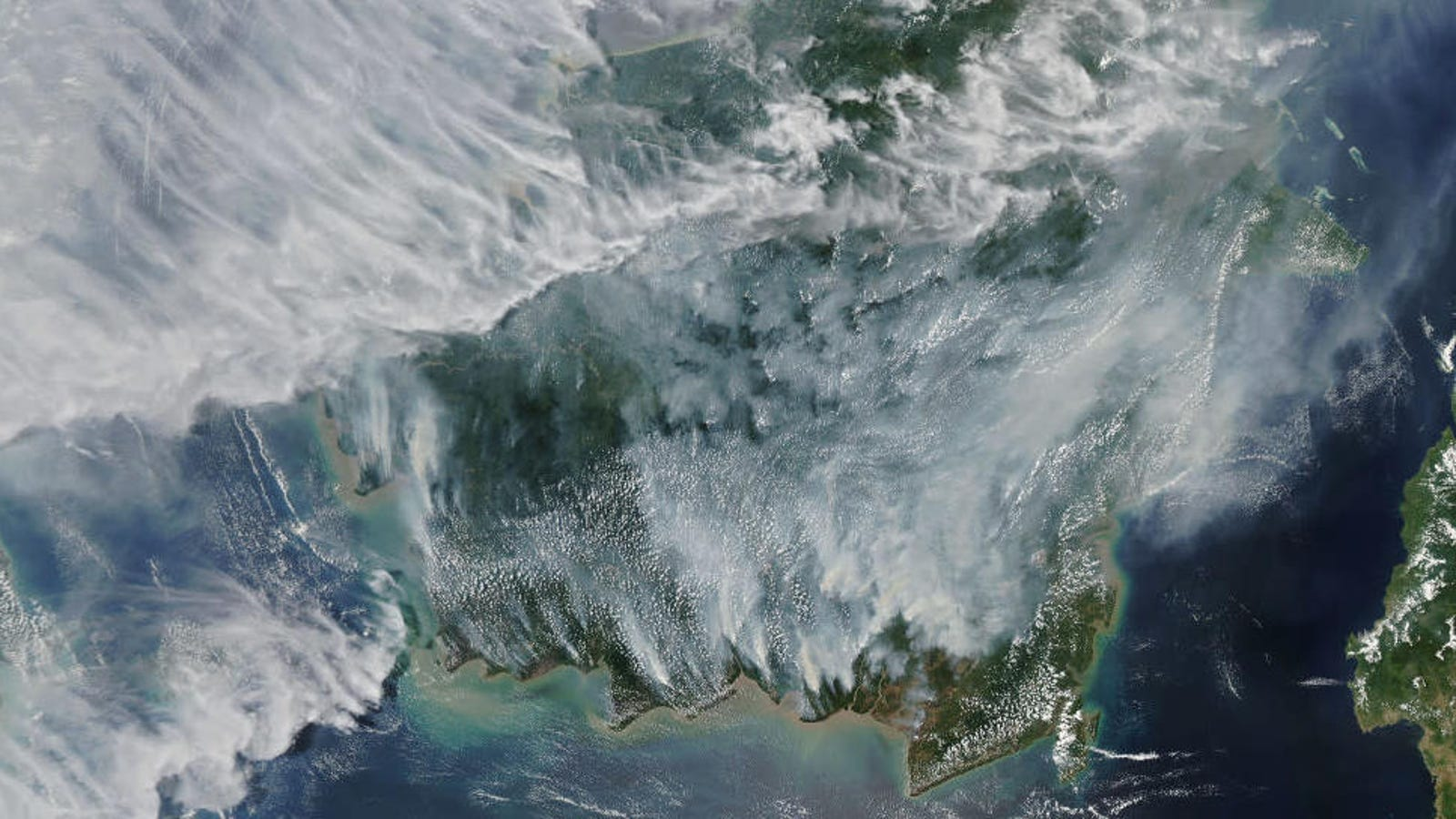 Smoke-Filled Satellite Images Reveal the Disturbing Extent of Wildfires in Indonesia