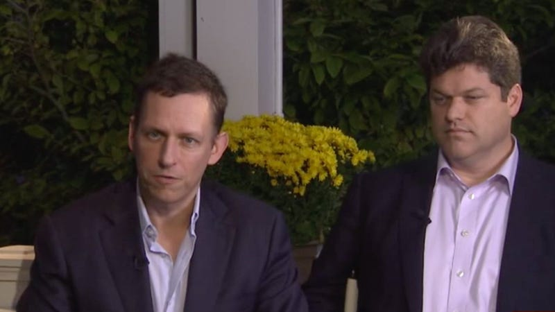 Peter Thiel and Kevin Harrington (Image: Bloomberg)