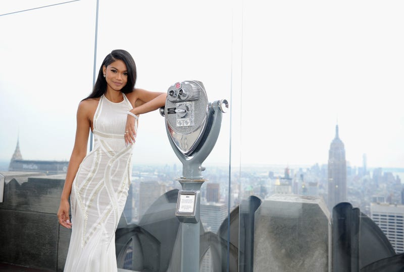 Model Chanel Iman  at the Top of the Rock  in New York City