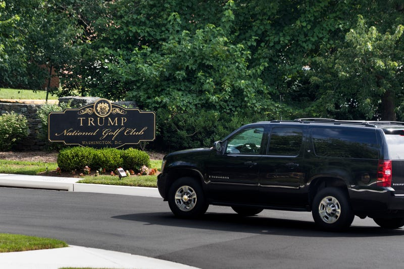 President Donald Trump's motorcade arriving at the Trump National Golf Club on June 25, 2017, in Sterling, Va.