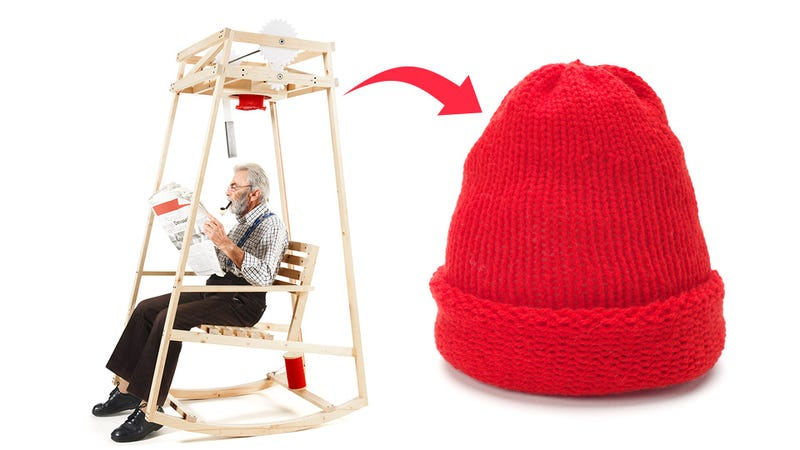 Illustration for article titled This Rocking Chair Knits a Wool Cap While You Kick Back and Relax