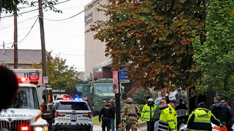 First responders outside the Tree of Life synagogue in Pittsburgh, where a gunman killed 11 people and wounded a number of others on Oct. 27, 2018.