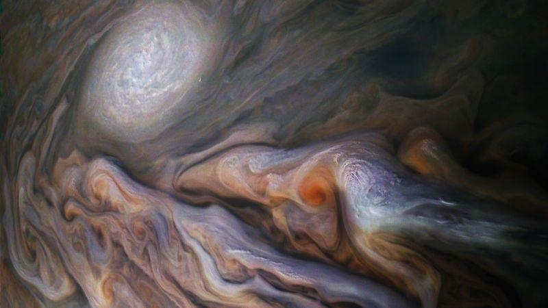 El cinturón templado del norte de Júpiter, fotografiado por la nave espacial Juno el 29 de octubre de 2018. Imagen: NASA/JPL-Caltech/SwRI/MSSS/Kevin M. Gill