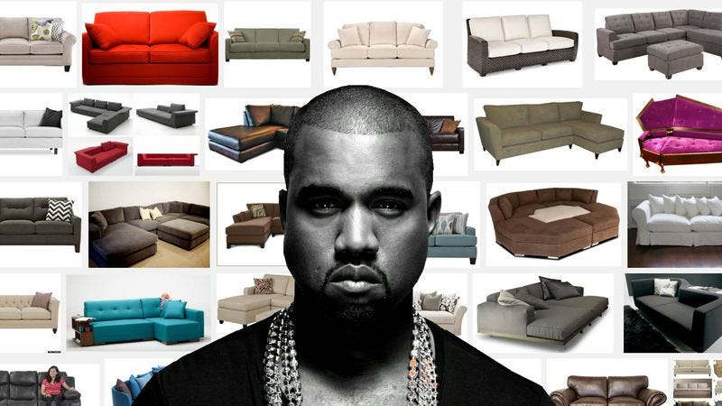 """Illustration for article titled Kanye West dithers over couches for 10 minutes in this """"Facts"""" remix"""