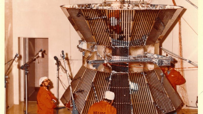 Researchers work on the Helios spacecraft back in 1975