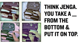 Illustration for article titled Pack Your Suitcase Perfectly By Seeing It Like a Game of Tetris or Jenga