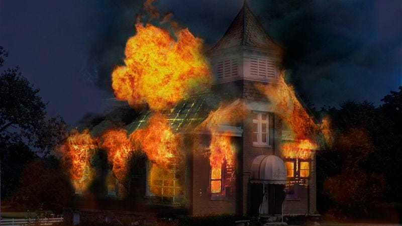 Illustration for article titled Debate Cut Short As Lantern Fire Burns Down Ol' Town Hall