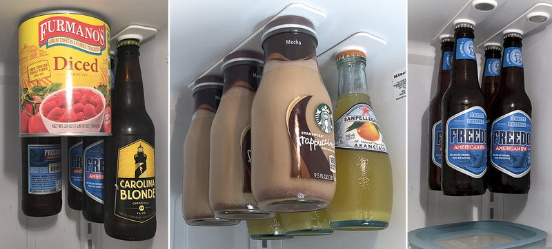 Illustration for article titled Magnetic Loft Hangs Bottles In Your Fridge To Give You More Shelf Space