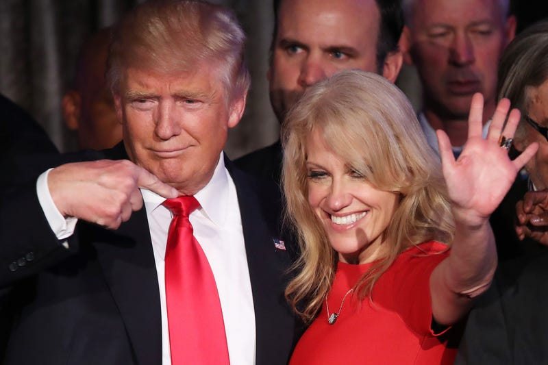 President-elect Donald Trump with campaign manager Kellyanne Conway  on election night in New York City on Nov. 9, 2016Mark Wilson/Getty Images