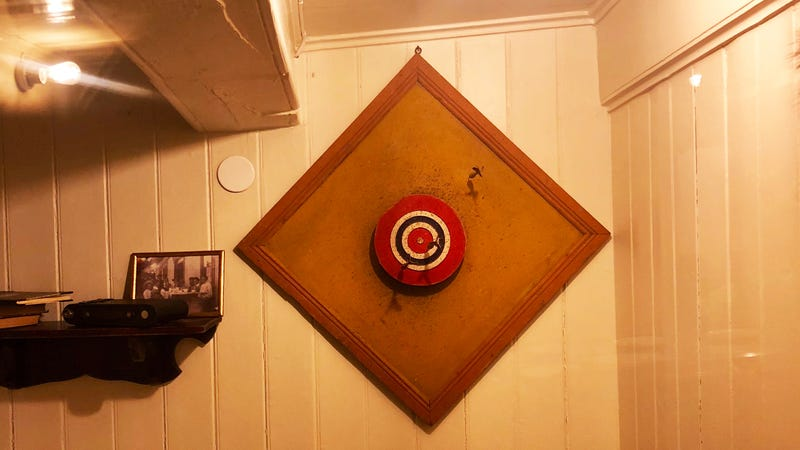 A dart board in a cabin aboard the polar ship The Fram. All photos unless indicated Riley MacLeod/Kotaku.