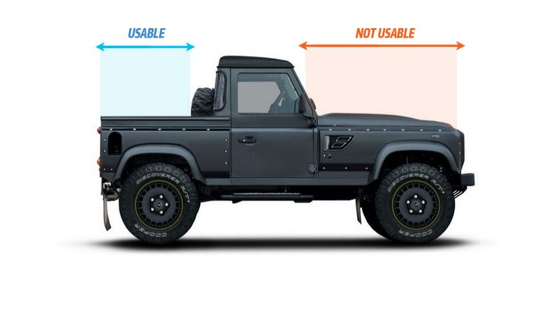 this modified defender pick up is cool and idiotic. Black Bedroom Furniture Sets. Home Design Ideas