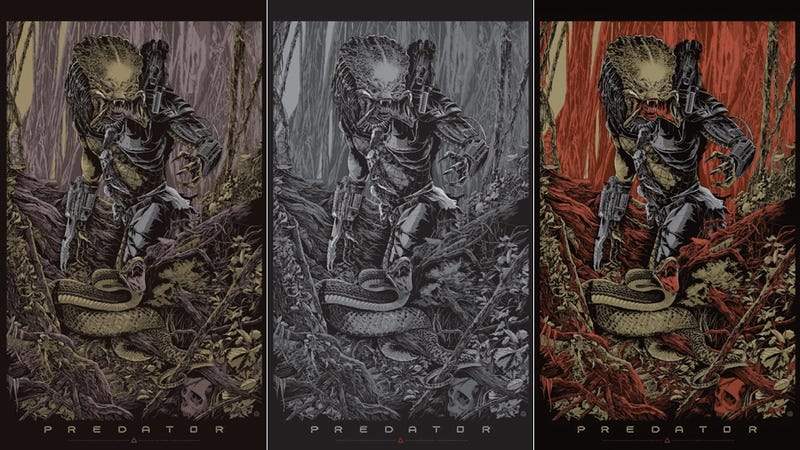 Illustration for article titled Mondo Predator Poster Exclusive Pits The Alien Warrior Against A Snake