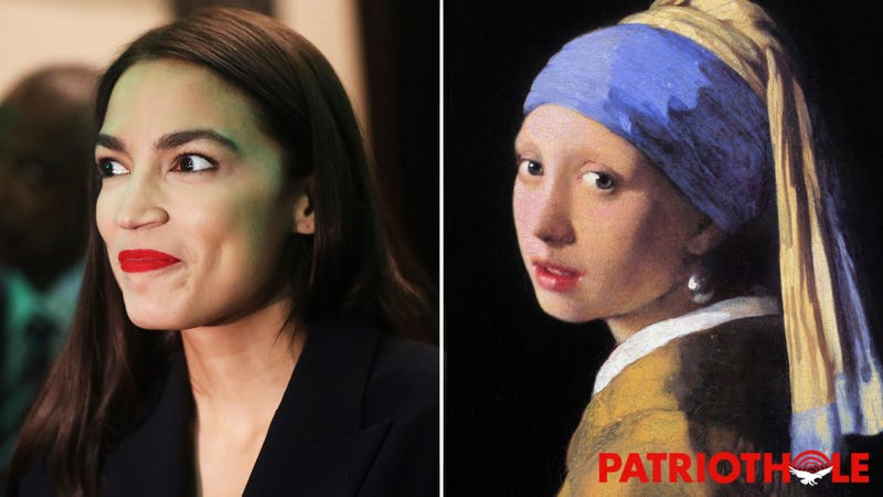 Illustration for article titled AOC Scam! Alexandria Ocasio-Cortez Claims To Be Poor, But This Painting Clearly Shows Her Wearing An Expensive Pearl Earring
