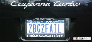 Illustration for article titled Wall Street Banker's Vanity License Plate Would Get An Auto Exec Tarred, Feathered