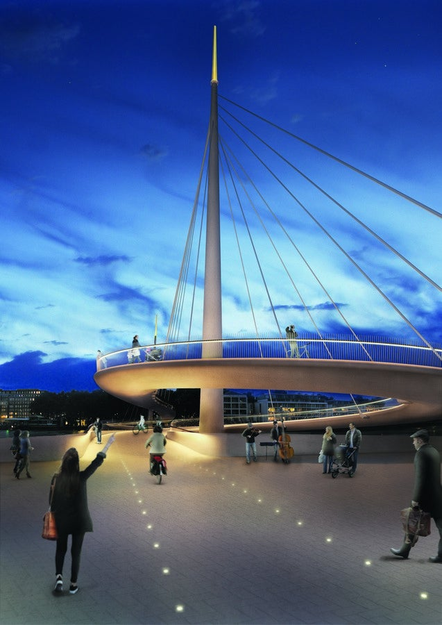 New London Pedestrian Bridge Has a Spiralling Cyclist