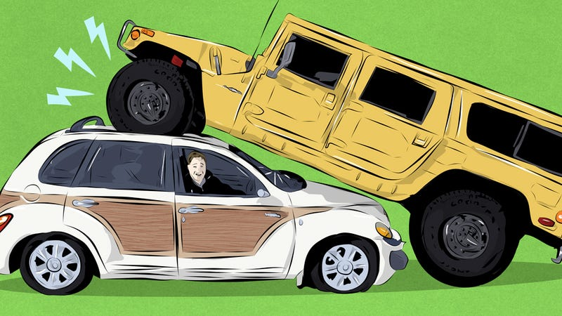 Illustration for article titled Here's How I Crushed A Chrysler PT Cruiser With A Hummer