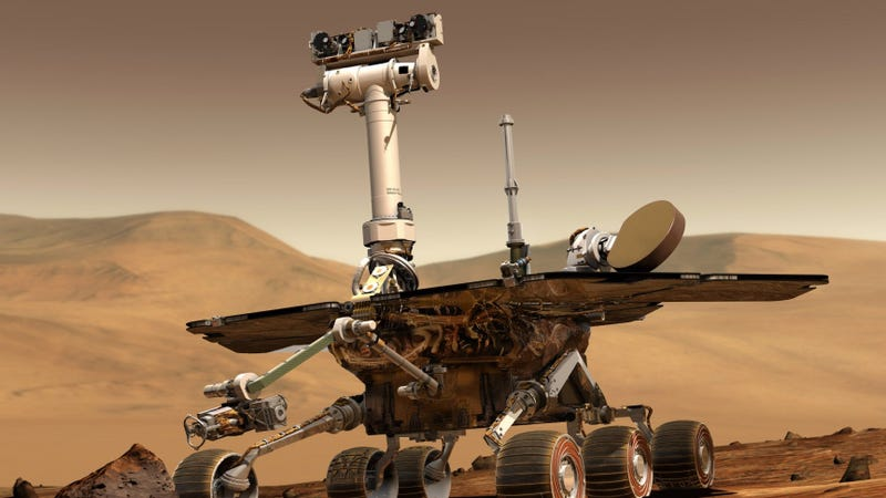 An artist's concept portrays a NASA Mars Exploration Rover on the surface of Mars.