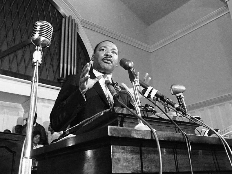 Martin Luther King Jr. speaks in Atlanta in 1960. (AP file photo)
