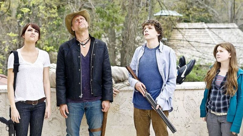 From left to right: Emma Stone as Wichita, Woody Harrelson as Tallahassee, Jesse Eisenberg as Columbus, and Abigail Breslin as Little Rock in Zombieland.