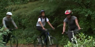 First family bikes through state forest on Martha's Vineyard in Massachusetts Aug. 22, 2015.Daily Mail screenshot