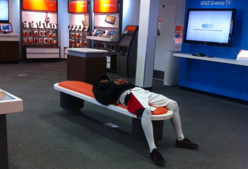 Illustration for article titled Titus Young Will Take A Nap In Your AT&T Store